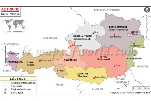 Autriche Carte Politique-Austria Political Map