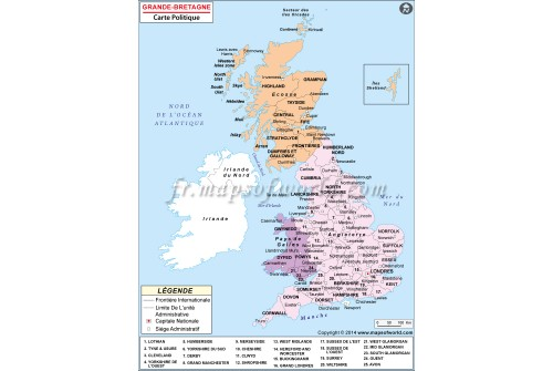 Grande-Bretagne Carte Politique-Great Britain Political Map