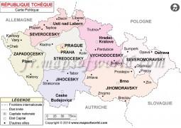Republique Tcheque Carte Politique-Czech Republic Political Map - Digital File