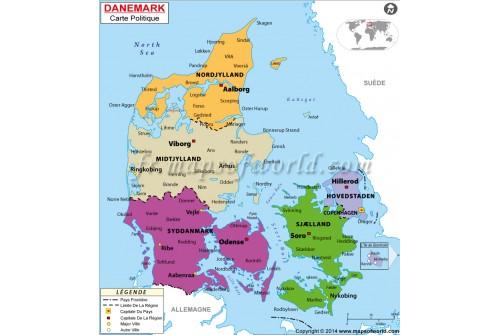 Denmark Map in French