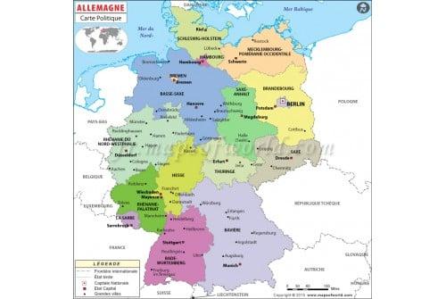 Allemagne Carte Politique-Germany Political Map