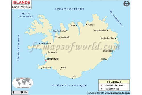 Iceland Map in French