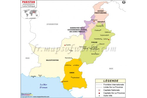 Pakistan Map in French Language