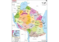 Tanzanie Carte Politique - Tanzania Political Map - Digital File