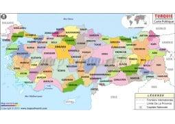 Turquie Carte Politique-Turkey Political Map - Digital File