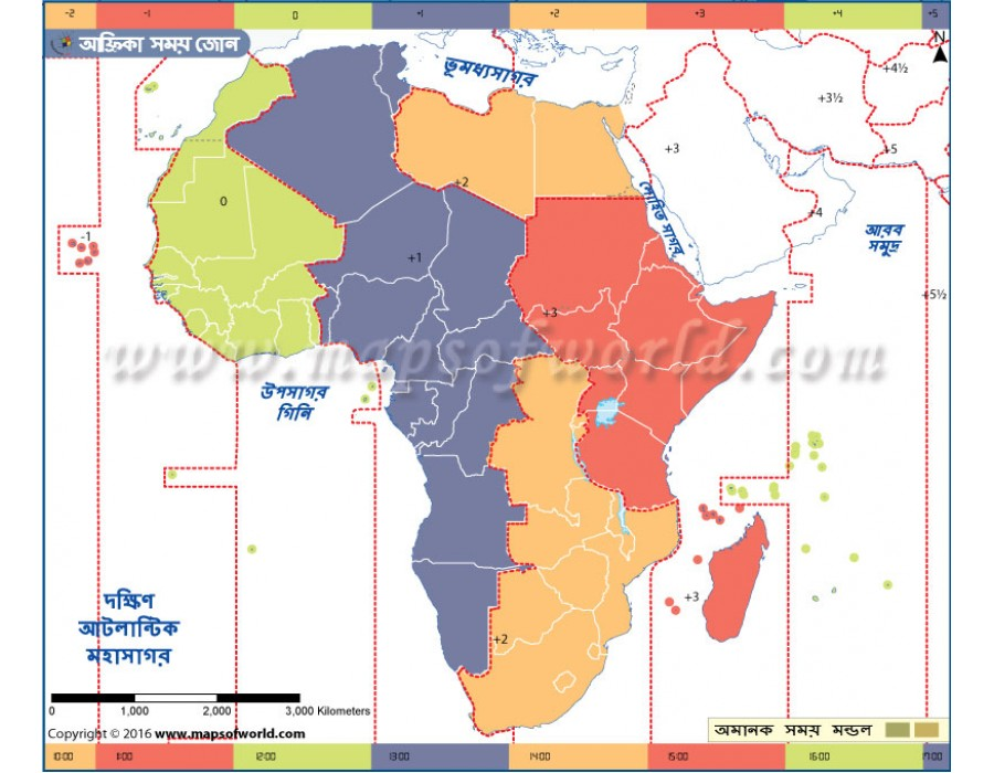 Buy Africa Time Zone Bangla - Map of the World - World Map