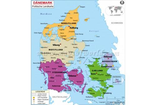 Denmark Political Deutsch Map