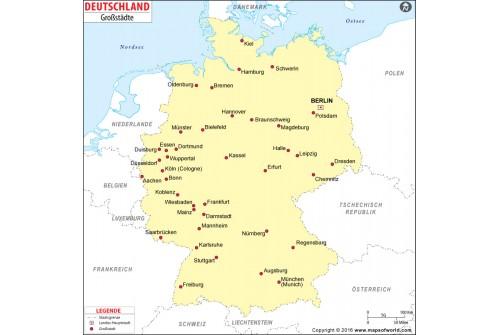 Germany Major Cities Deutsch Map