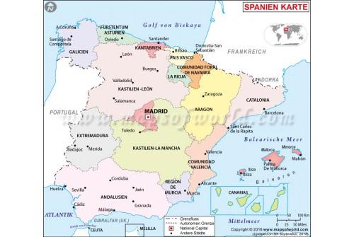 Spain Political Deutsch Map