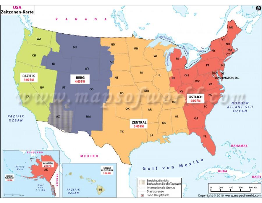 Usa time Zone map california