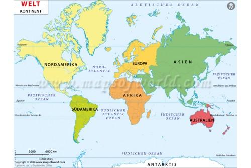 World Continent Deutsch map