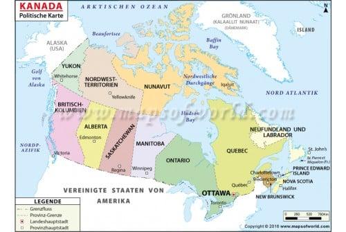 Canada Political Deutsch Map