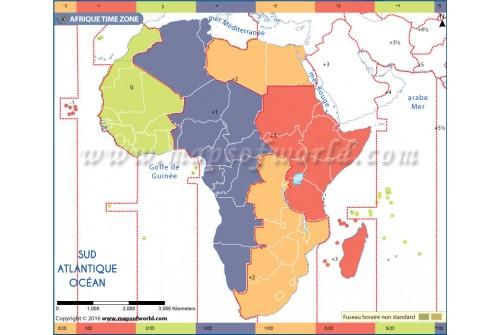 Carte du fuseau horaire de l'Afrique - Africa Time Zone French
