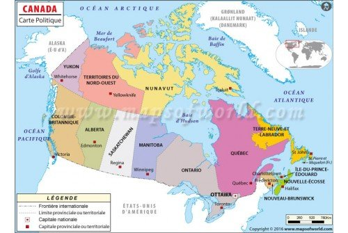 Canada Map in French