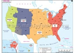 USA Time Zone French Map - Digital File