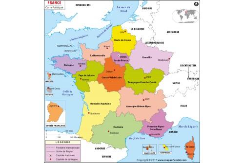 France Carte Politique-France Political Map