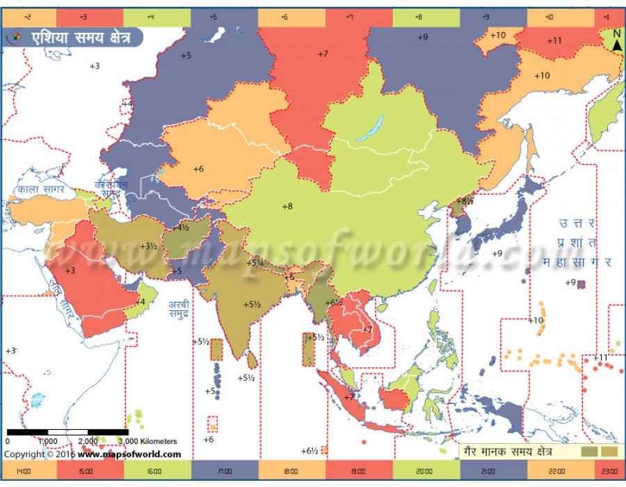 Buy Asia Time Zone Hindi Map