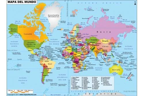 World Political Spanish Map