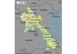 Laos Latitude and Longitude Map - Digital File