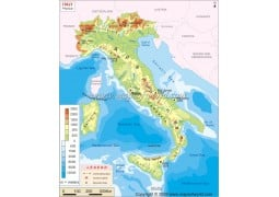 Italy Physical Map - Digital File