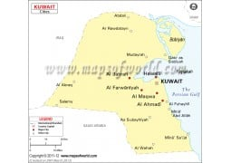 Kuwait Map with Cities - Digital File