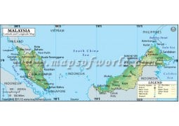 Malaysia Latitude and Longitude Map - Digital File