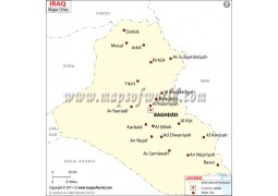 Iraq Map with Cities - Digital File