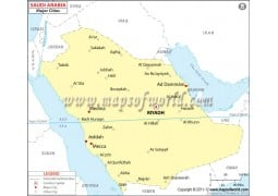 Saudi Arabia Map with Cities - Digital File