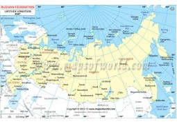 Russia Latitude and Longitude Map - Digital File