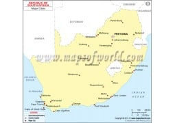 Map of South Africa with Cities - Digital File