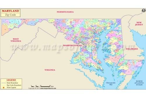 Maryland Zip Code Map