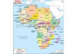 Africa Political Map in Portuguese