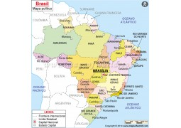 Mapa Brasil, Brazil Map in Portuguese - Digital File