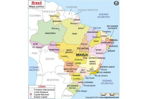 Mapa Brasil, Brazil Map in Portuguese