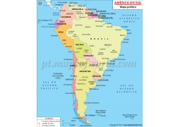 South America Political Map in Portuguese - Digital File