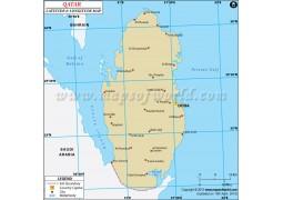 Qatar Latitude and Longitude Map - Digital File
