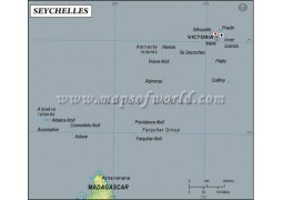 Seychelles Latitude and Longitude Map - Digital File