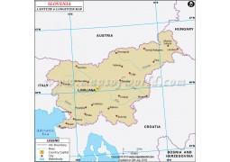 Slovenia Latitude and Longitude Map - Digital File