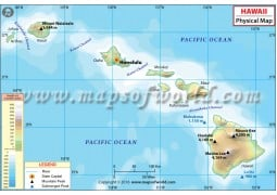 Buy Hawaii Latitude and Longitude Map