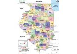 Illinois County Wall Map