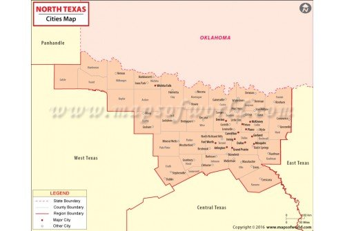 Buy North Texas Cities Map - Texas cities map