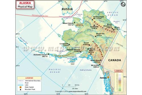 Buy Physical Map of Alaska
