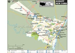 Albany City Map, New York