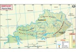Physical Map of Kentucky