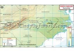 North Carolina Physical Map - Digital File