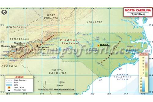 North Carolina Physical Map