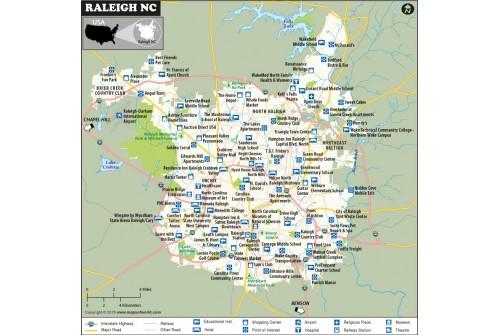 Raleigh Map, North Carolina
