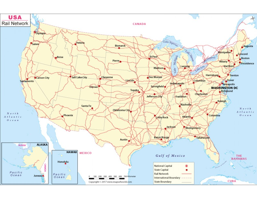 Buy Interactive Rail Network Map of US | Maps of USA