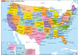 US State Capitals and Major Cities Map
