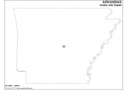 Blank Map of Arkansas with Capital